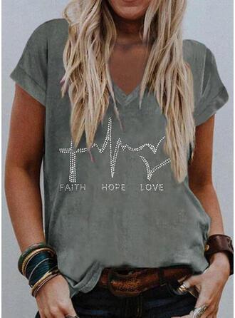 Heart Sequins Letter V-Neck Short Sleeves T-shirts