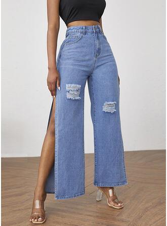 Solid Denim Cropped Casual Denim & Jeans