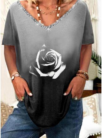 Floral Gradient Print Sequins V-Neck Short Sleeves T-shirts