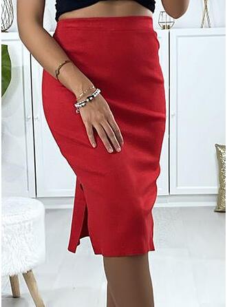 Cotton Blends Plain Knee Length Pencil Skirts