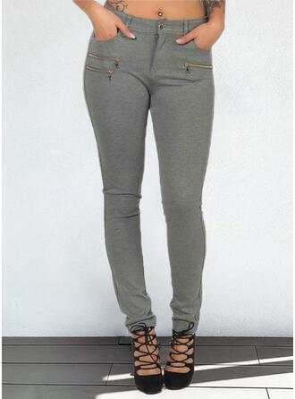 Sólido Largo Casual Tallas Grande Bolsillo Botones Pantalones