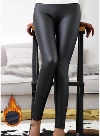 Solid Sequins PU Long Sexy Vintage Pants Leggings