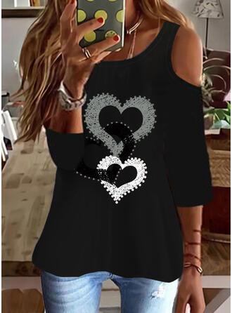 Cœur Imprimé Accueil froid Manches 3/4 T-shirts