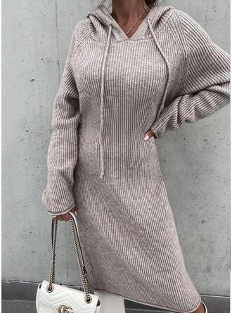 Sólido Manga Comprida manga raglan Vestidos soltos Suéter Casual Midi Vestidos