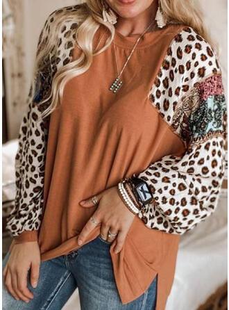 Leopardo Gola Redonda Manga Comprida Camisetas