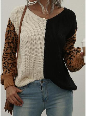 Trozos de color Cuello en V Casual Suéteres