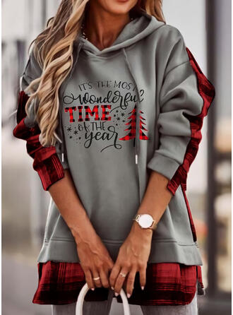 Christmas Print Plaid Letter Long Sleeves Christmas Sweatshirt