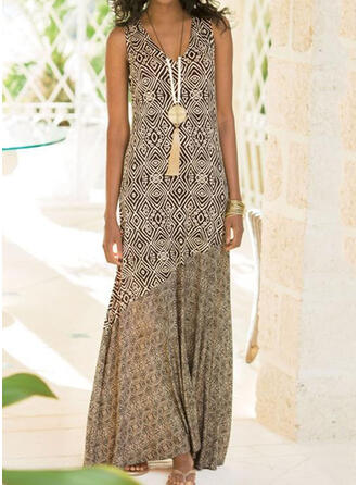 Print Sleeveless Shift Tank Casual/Boho/Vacation Maxi Dresses