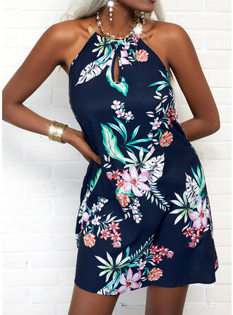 Print/Floral/Backless Sleeveless A-line Above Knee Casual/Vacation Skater Dresses