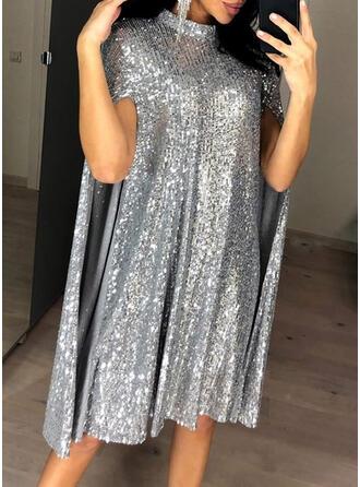 Sequins Long Sleeves/Split Sleeve Shift Knee Length Party/Elegant Dresses