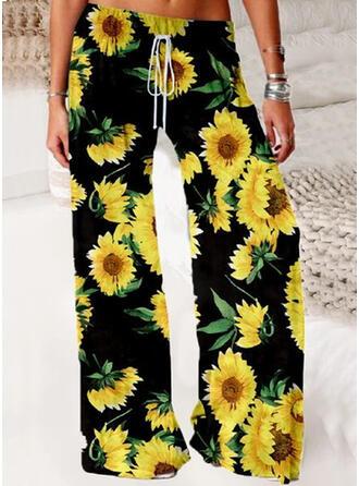 Impresión de girasol Largo Casual Pantalones
