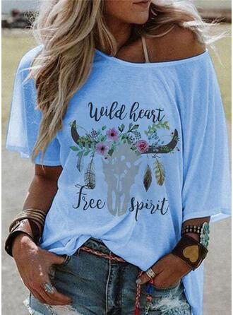 Fleurie Imprimé Letter Faune Col Rond Manches 1/2 T-shirts