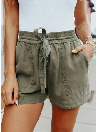 Solid Above Knee Casual Shorts