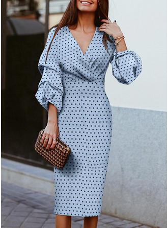 PolkaDot Long Sleeves Bodycon Pencil Elegant Midi Dresses