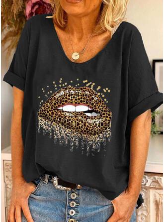 Leopardo Estampado Gola Redonda Manga Curta Camisetas