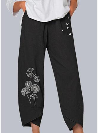 Imprimé Pissenlit Faune papillon Tondu Décontractée Poche Pantalon Pantalons de détente