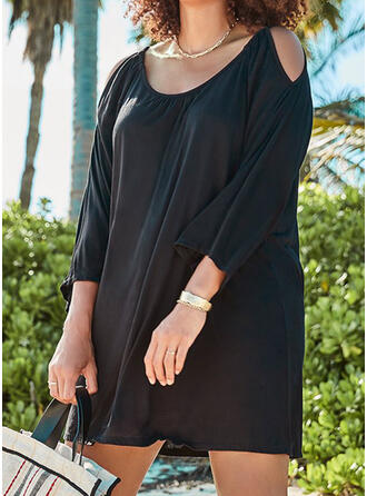Plus Size Solid 3/4 Sleeves Cold Shoulder Sleeve Shift Above Knee Casual Little Black Vacation Dress