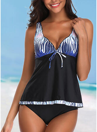 Splice color Knotted Strap V-Neck Attractive Casual Exquisite Tankinis Swimsuits