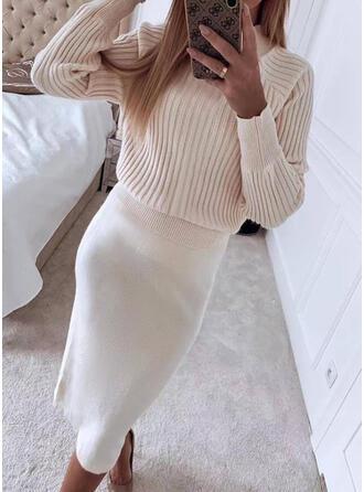 Solid Knit Long Sleeves Raglan Sleeve Bodycon Sweater/Pencil Casual Midi Dresses
