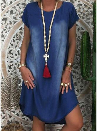 Solid Short Sleeves Shift Knee Length Casual/Denim Tunic Dresses