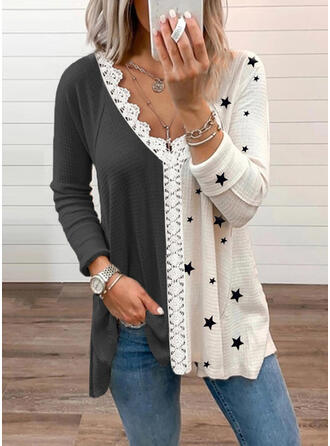 Print Color Block Lace V-Neck Long Sleeves Casual Blouses