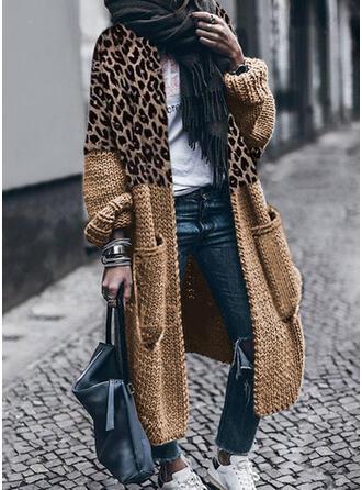 Trozos de color Leopardo Casual Cárdigan
