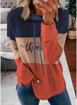 Print Color Block Letter Long Sleeves Hoodie