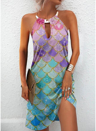 Print Sleeveless Sheath Knee Length Casual Dresses