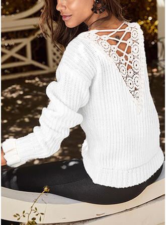 Solid Lace Round Neck Sweaters