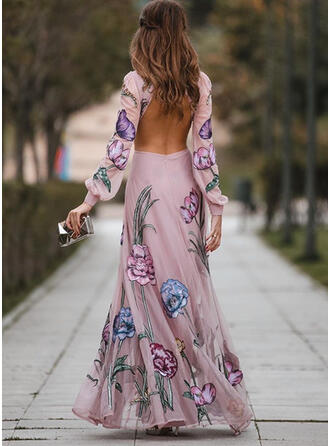 Print/Floral/Backless Long Sleeves/Lantern Sleeve A-line Skater Sexy/Party Maxi Dresses