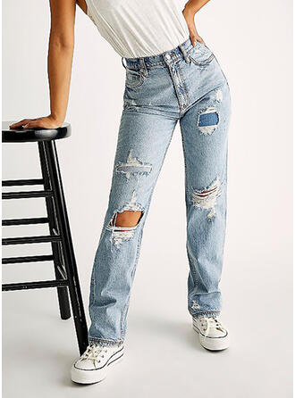 Ripped Casual Vintage Denim & Jeans
