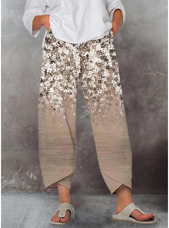 Floral Print Cropped Casual Pants