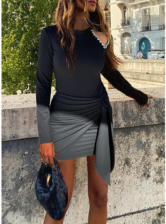 Solid Long Sleeves Cold Shoulder Sleeve Hourglass Above Knee/Midi Sexy/Party Dresses