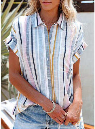 Rainbow Striped Lapel Short Sleeves Casual Vacation Blouses