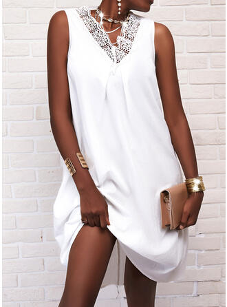 Lace/Solid Sleeveless Shift Knee Length Casual Dresses