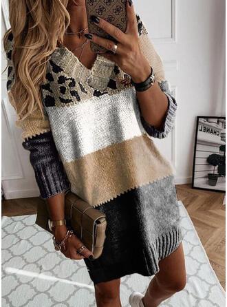 Impresión Trozos de color Leopardo Cuello en V Casual Vestido de Suéter