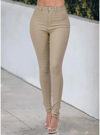 Solid Cotton Long Casual Plus Size Pocket Button Denim & Jeans
