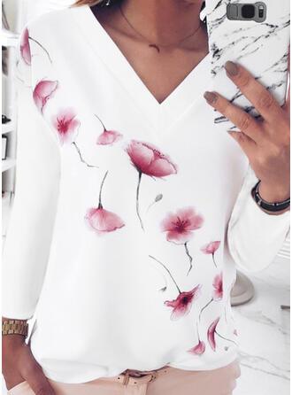 Fleurie Imprimé Col V Manches Longues T-shirts