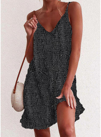 Print/Floral/PolkaDot Sleeveless Shift Above Knee Casual/Vacation Slip Dresses