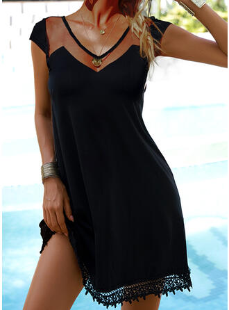 Lace/Solid Cap Sleeve A-line Above Knee Little Black/Casual Skater Dresses