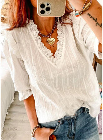 Solid Hollow-out V-Neck 1/2 Sleeves Casual Blouses
