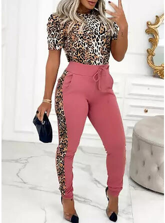 Leopard Casual Tee & Two-Piece Outfits Set
