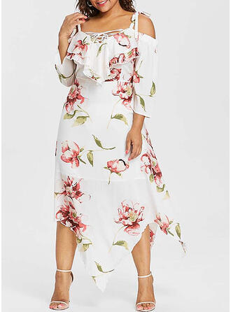 Plus Size Floral Print 3/4 Sleeves Cold Shoulder Sleeve A-line Midi Casual Vacation Dress