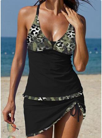 Camouflage Fines Bretelles Col V Grande taille Décontractée Vacances Tankinis Maillots De Bain
