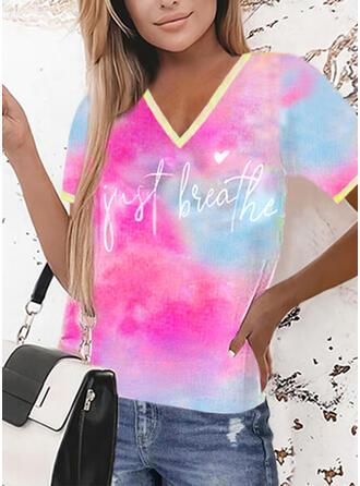 Heart Print Tie Dye Letter V-Neck Short Sleeves T-shirts