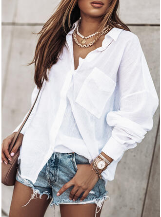 Solid Lapel Long Sleeves Dropped Shoulder Casual Office/Business Blouses