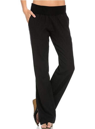 Pockets Shirred Long Casual Elegant Solid Plain Pants