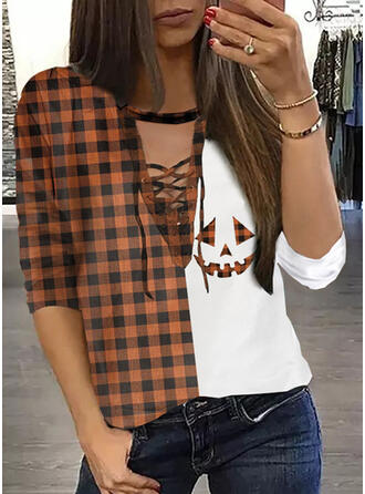 Print Plaid Round Neck Long Sleeves Casual Blouses