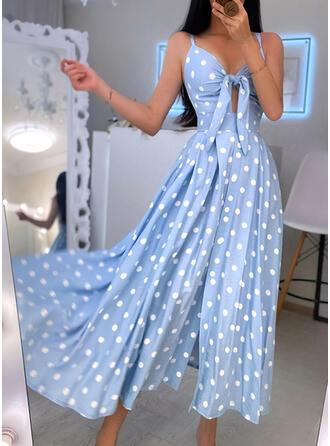 PolkaDot Sleeveless A-line Slip/Skater Party Maxi Dresses