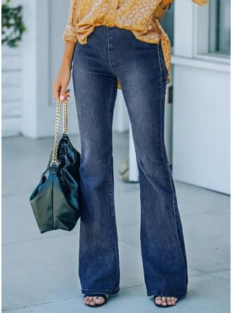 Couleur Unie Treillis Longue Élégante Ancien Grande taille Bureau / Affaires Poche Jeans